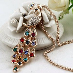 Peacock Multi Color Crystal Necklace